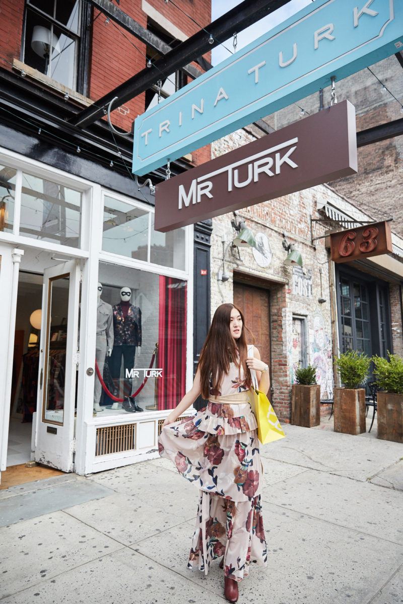 Summer Y.L. wearing in Trina Turk in Meatpacking NY