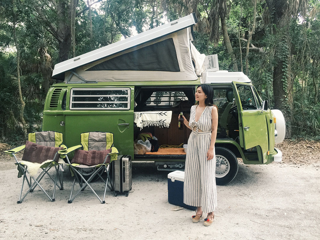 Vivian Cai with 1970s VW Camper